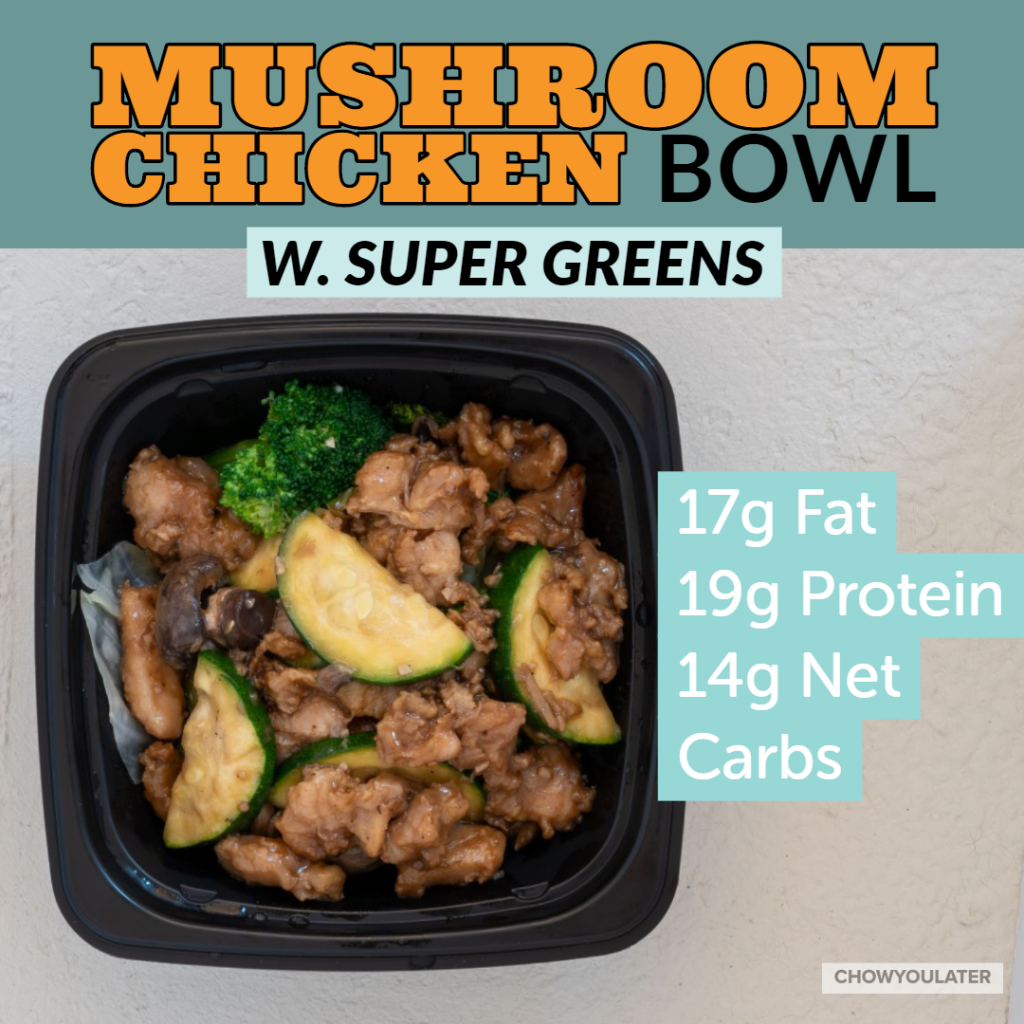 keto mushroom chicken bowl with super greens on white background