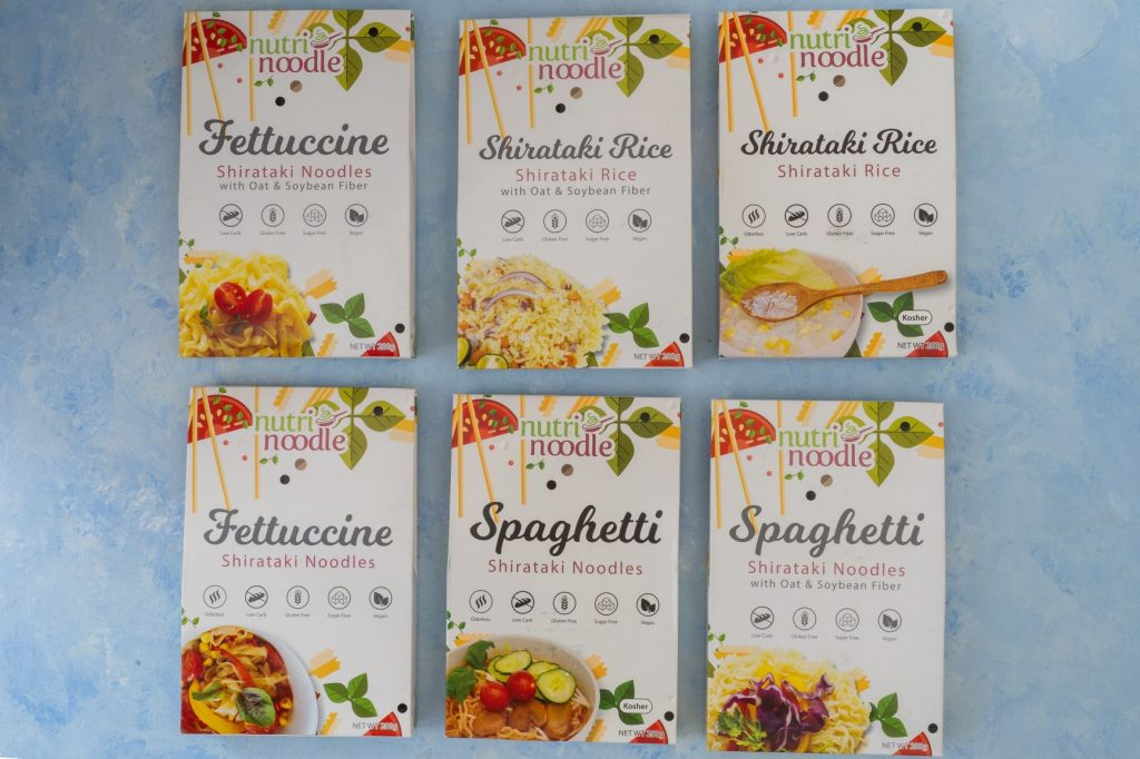 Nutri Noodle packages of fettuccine, shirataki rice, and spaghetti
