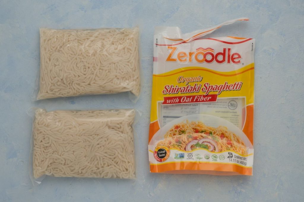 Zeroodle package opened with two pouches