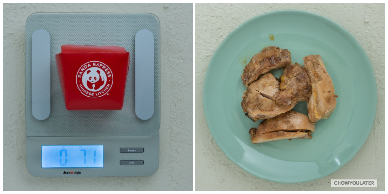 Weight of a small chicken teriyaki at 7.1 oz