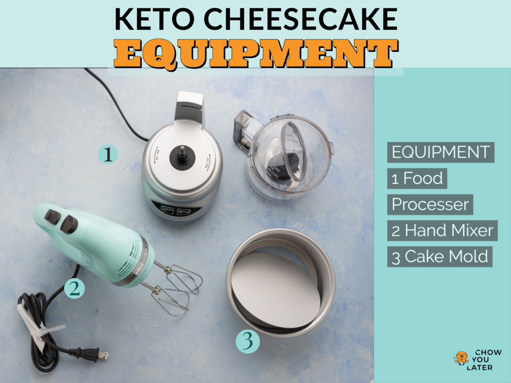 Equipment needed to make keto cheesecake laid out on light blue surface