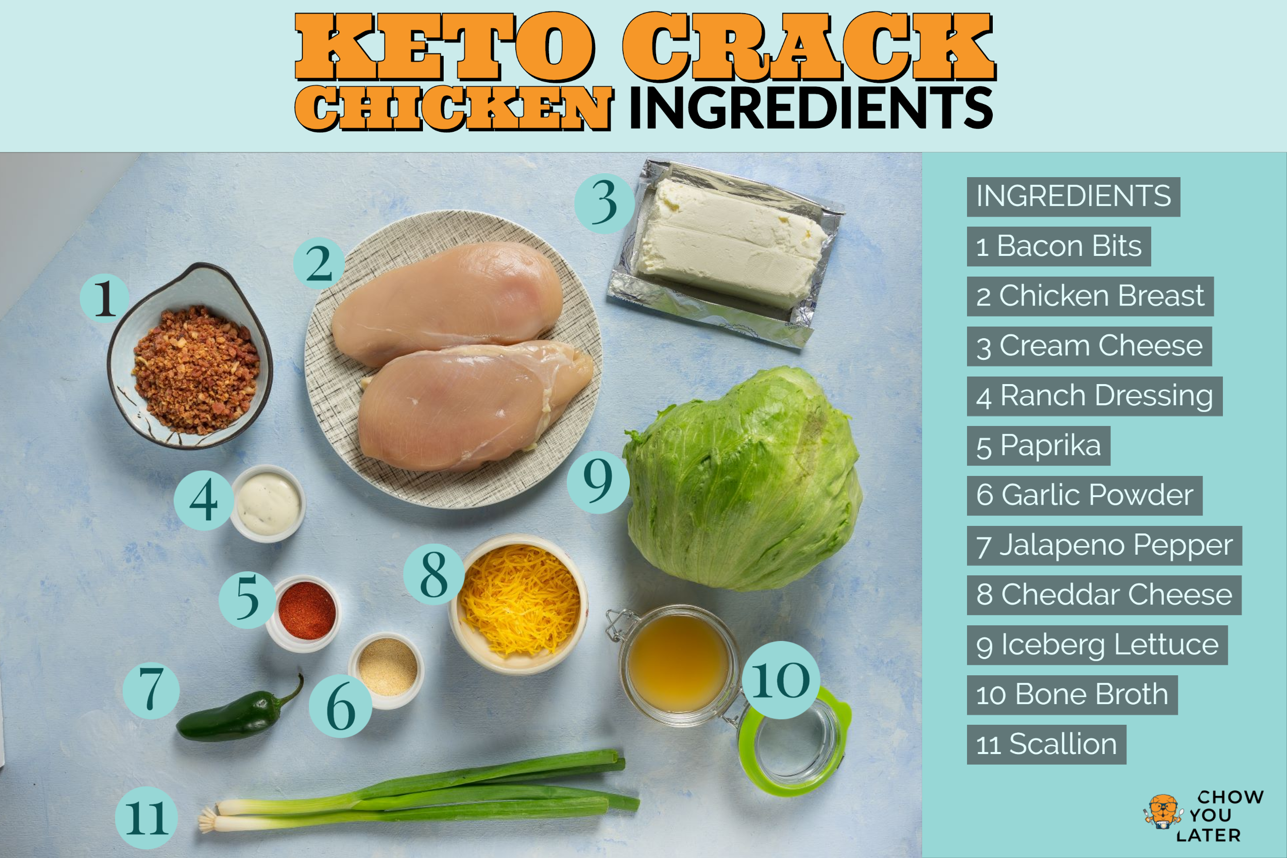 Keto Crack Chicken ingredients laid out on blue flat surface